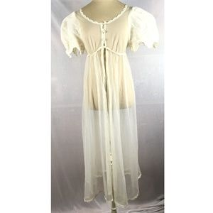 Vintage nightgown lingerie ivory sheer long 1950s